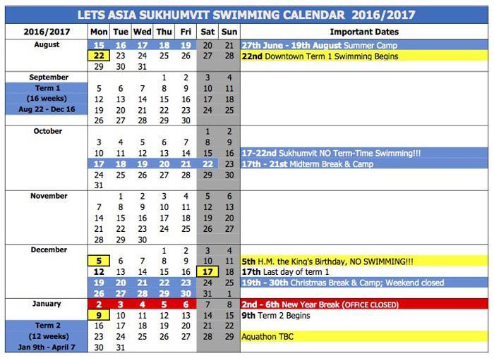 LETS ASIA SUKHUMVIT SWIMMING CALENDAR 2016/2017